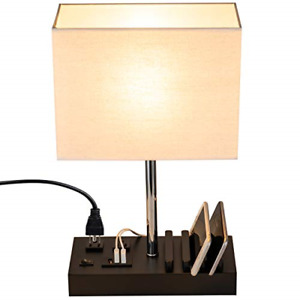 Briever USB Table Lamp, Multi-Functional Bedside Desk Lamp with 2 AC Outlets, 3