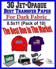 HEAT TRANSFER PAPER 3G JET-OPAQUE IRON ON DARK FABRIC INKJET PAPER 10 PK 8.5*11