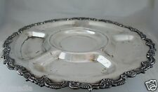 ANTIQUE SILVER PLATE SERVING TRAY/PLATTER ROTATING LAZY SUSAN ORNATE RIMS