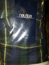 Nautica Sagamore Navy Blue & Green Full Bed-Skirt New