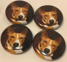 "Set Of 4 ""Red Basenji Face"" Fridge Magnets / 4 Aimants A Frigo ""Basenji Rouge""🐺"