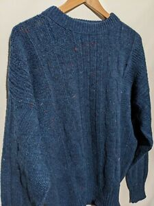 VTG Pendleton Mens XL Navy Virgin Wool Long Sleeve Pullover Sweater