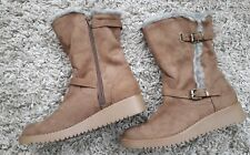 DOROTHY PERKINS WOMENS LADIES WINTER BOOTS NEW SIZE UK 4 FAUX SUEDE TAN WARM