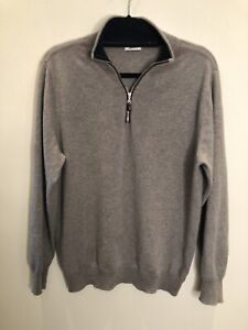 N.Peal 100% Cashmere 1/2 Zip Jumper Grey Brown Taupe Size M Sweater Top Quality