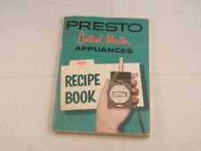 VINTAGE PRESTO CONTROL MASTER APPLIANCES OWNERS MANUAL & RECIPE BOOK