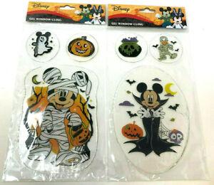 (2) Disney Mickey Mouse Gel Window Cling Donald Halloween Mummy Vampire Pumpkin