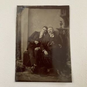 Antique Tintype Photograph Handsome Young Man Men Affectionate Gay Int