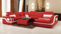 Ecksofa Sofa Couch Wohnlandschaft Polster Leder U Form Sitz Garnitur Neu HAMBURG