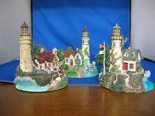 3 Thomas Kinkade'S Illuminated Lighthouses By Bradford Editions No, B9739