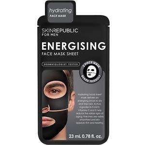 Skin Republic MENS CoQ10 Energising Black Hydrating Face Mask With Vitamin C & E