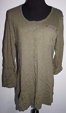 Fashion Bug Army Green Layering Henley T Shirt Top Sz S Highland Fling