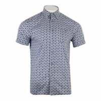 Ted Baker Mens Petalz Short Sleeve Floral Print Shirt (Blue)