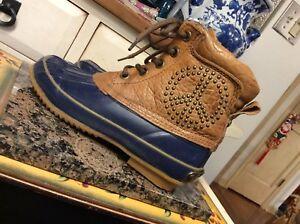 Lucky Brand Women's Sz-US- 7M- EU-37 Brown- Blue Rubber Duck Peace Sign Boots