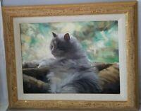 Vincent Silvano-Naptime-Custom Framed Orig.Oil Painting on Canvas of catnap /COA