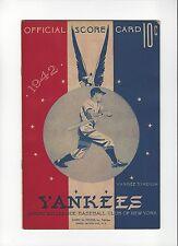 1942 New York Yankees vs Washington Senators Scorecard JOE DIMAGGIO PHIL RIZZUTO