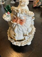 "Vintage Napco Ceramic Santa With Toy Sack Planter Spaghetti Trim 6.5"" Japan"