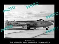 OLD LARGE HISTORIC PHOTO OF AUSTRALIAN NAVY SEA VAMPIRE OF 723 SQUADRON c1954