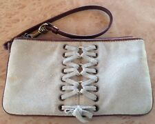 Coach Vintage Corset Laced Light Stone Suede/Brown Leather Wristlet pre-owned