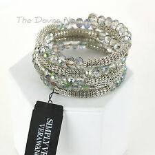 SIMPLY VERA WANG Coil BRACELET Silver MESH & Iridescent CLEAR Checkerboard BEADS