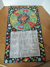 New listing Vintage Cloth Calendar Tea Towel Zodiak Signs Space Planets 1971