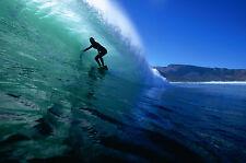 Encadrée Imprimer-Surfeur cheval les vagues océaniques (Photo Poster eau de mer art)