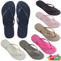 Havaianas Slim logo Black Gold Pink Navy Flip Flops Sandals Thongs Brazil Logo.