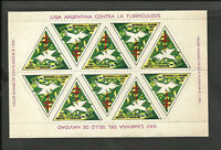 TUBERCULOSIS ARGENTINA, PLATE OF 10 CINDERELLAS, 1971, MNH, VF