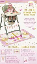 1st BIRTHDAY Pink and Gold HIGH CHAIR DECORATING KIT (4pc) ~ Party Supplies Bib