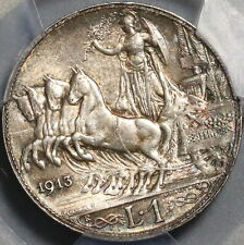 1913 PCGS MS 62 Italy 1 Lira Horses & Chariot Silver Mint State Coin (20102004C)