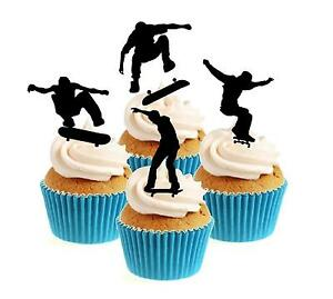 Novelty Skateboarding Silhouette Mix 12 Edible Stand Up wafer paper cake toppers