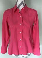 ANN TAYLOR Womens Pink Button Front Top Shirt Collar Blouse Sz 8 Petite Medium