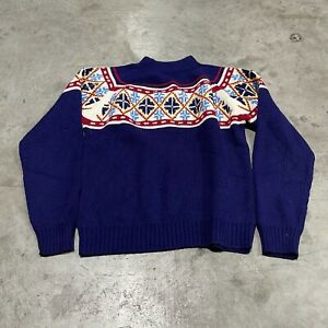 60s 70s Vintage Blue Acrylic JC Penneys Mens Sweater Size Small
