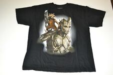 New ListingGuardians of the Galaxy T-Shirt Marvel Groot & Rocket Racoon Xl Black-Free Ship!