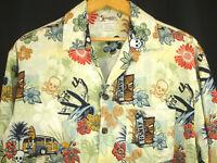 Walt Disney World Mickey Hawaiian Aloha Shirt Surfing Woody Tiki Skull Beach S