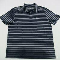 Oakley Mens Polo Shirt Black Short Sleeve XL Performance Soft Golf Stripes
