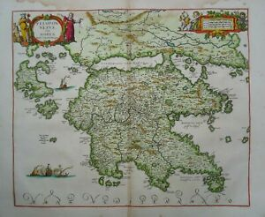 Antique Map of the Peloponnese by Johannes Jansson 1684