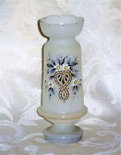 New listing Antique Victorian Heart Flower Bristol Hand Blown Frosted Satin Art Glass Vase
