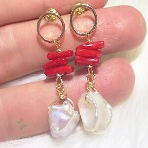 White Baroque Pearl Earring Gold Ear Drop Hook Hoop Gift Party Wedding