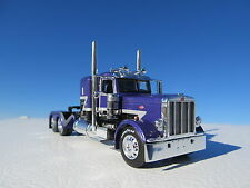 DCP 1/64 SCALE 389 PETERBILT SMALL BUNK PURPLE/BLACK W GRAY STRIPE WTI FENDERS