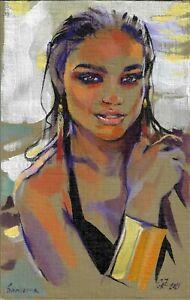 original painting 19,5 х 30,5 cm 283GZ art acrylic on canvas female portrait