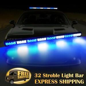 """35"""" 32 LED Traffic Advisor Emergency Hazard Warning Strobe Light Bar Blue White"""
