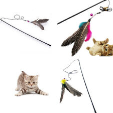 Funny Cat Kitten Pet Teaser Feather Wire Chaser Toys Wand Feather Bell Play Rods