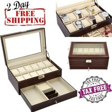 Jewelry 12 Drawers For Watches Brown Watch Leather Box Display Storage Organizer