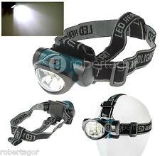 TORCIA LAMPADA DA TESTA FRONTALE 6 LED PESCA GROTTE FASCIO LUCE WATERPROOF 603