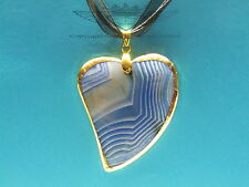 Organzakette mit Herz blauer Onyx, 24 Karat vergoldet, Goldrand, Edelstein,neu