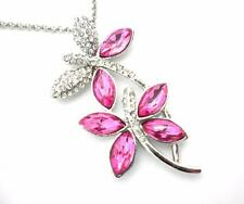 Dragonfly Pendant Women Pink Austrian Crystal Necklace Silver Plated New