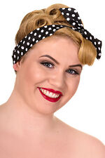 New Vintage Rockabilly 50s Retro Black and White Polka Dot Spot Hair Head Band