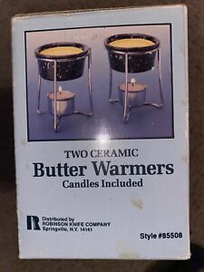 Set of 2 Robinson Knife Co. Two Ceramic Butter Warmers w Box