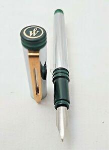 Vintage Waterman Forum Cartridge Pen Nickel Two Greens F-Nib Steel -France