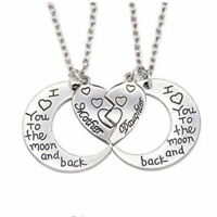 2 PIECE MOTHER DAUGHTER I LOVE YOU TO THE MOON AND BACK NECKLACE SET